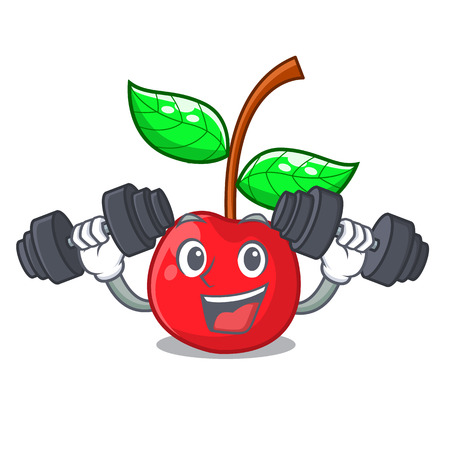 Fitness cherry fruit in a mascot basket vector illustration