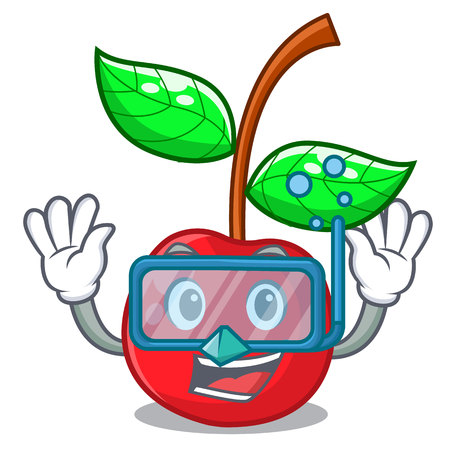 Diving fruit cherry above wooden character table vector illustration Illustration