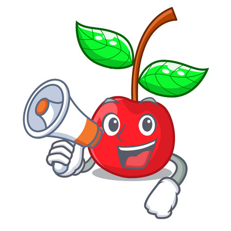 With megaphone cherry fruit in a mascot basket vector illustration