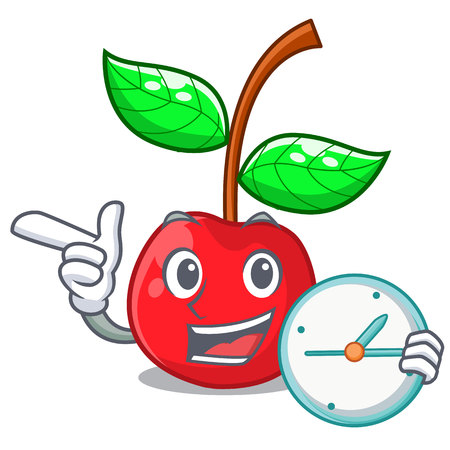 With clock fruit cherry above wooden character table vector illustration Illustration
