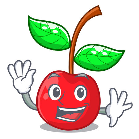 Waving fruit cherry above wooden character table vector illustration