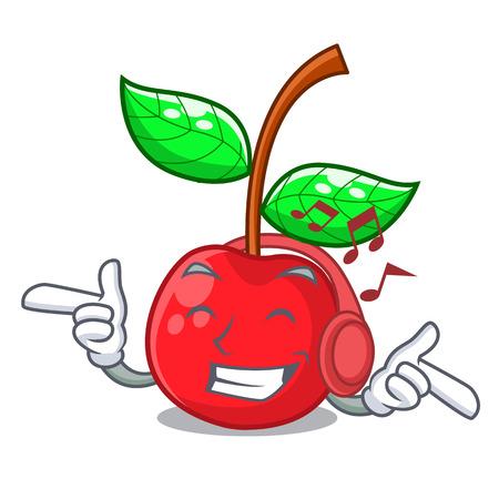 Hören von Musik Kirschfrucht in einer Cartoon-Schüssel-Vektor-Illustration