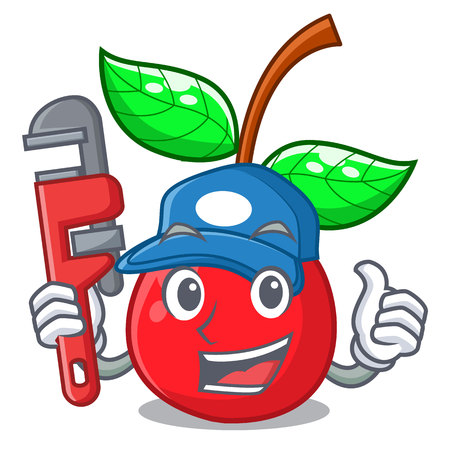 Plumber cherries fruit isolated with the cartoon vector illustration