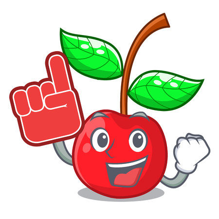 Foam finger cherries fruit isolated with the cartoon vector illustration Ilustração Vetorial