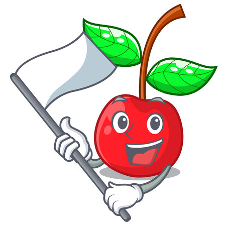 With flag cherries fruit isolated with the cartoon vector illustration