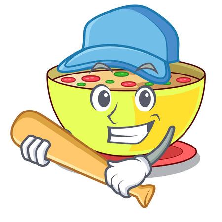 Playing baseball corn chowder in a cartoon bowl