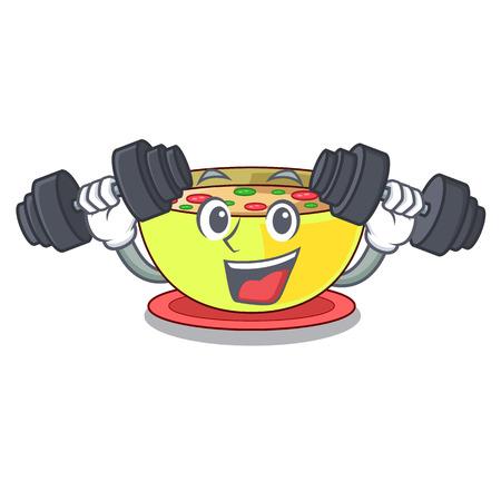 Fitness corn chowder in a cartoon bowl vector illustration