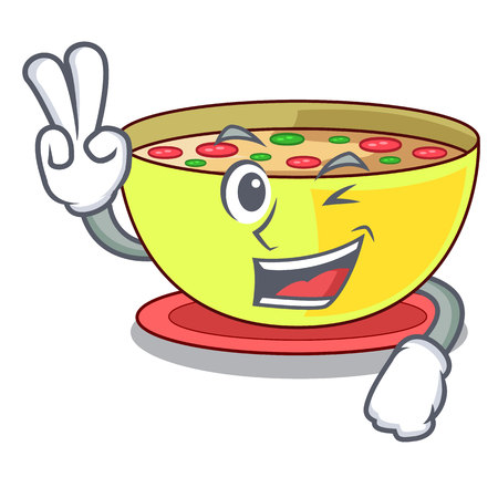 Two finger corn chowder isolated with the character vector illustration