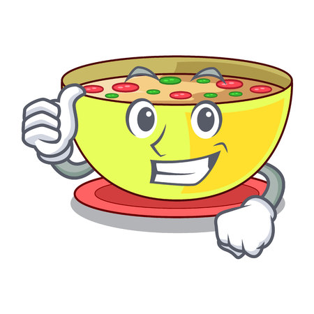 Thumbs up corn chowder isolated with the character vector illustration