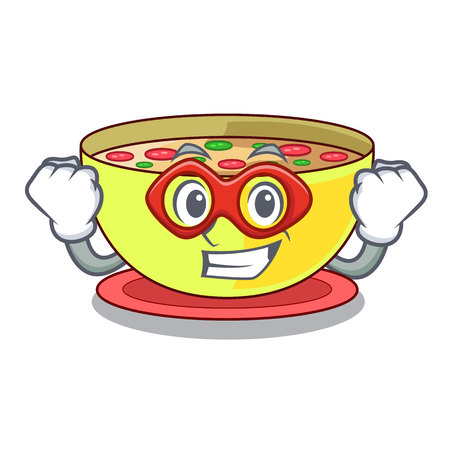 Super hero corn chowder isolated with the character vector illustration