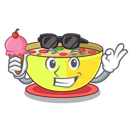 With ice cream corn chowder isolated with the character vector illustration Векторная Иллюстрация