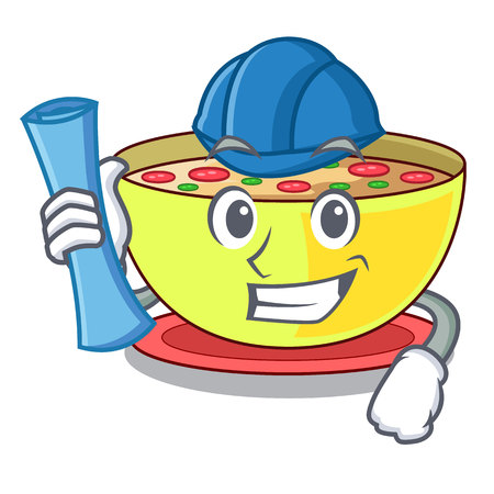 Architect corn chowder isolated with the character vector illustration