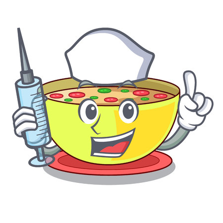 Nurse corn chowder isolated with the character vector illustration