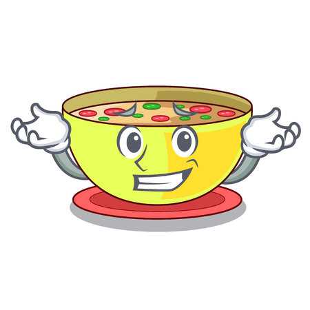 Grinning corn chowder isolated with the character vector illustration