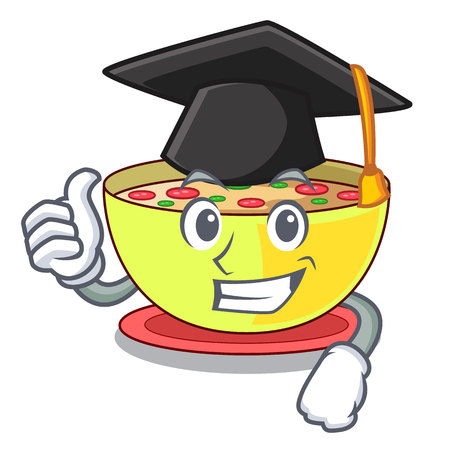 Graduation corn chowder isolated with the character vector illustration