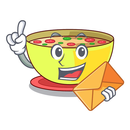 With envelope corn chowder isolated with the character vector illustration Ilustração