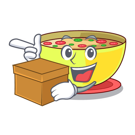 With box corn chowder isolated with the character vector illustration
