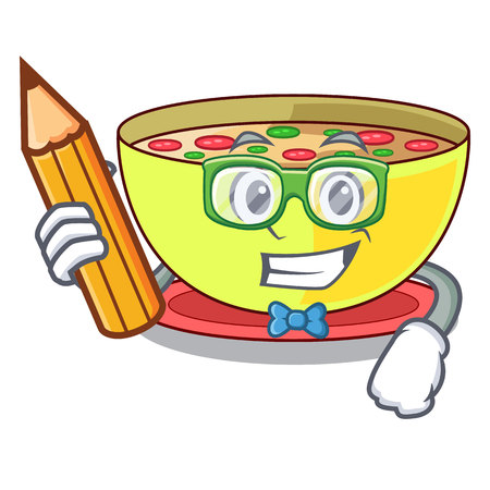 Student corn chowder isolated with the character vector illustration
