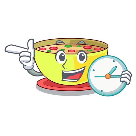 With clock corn chowder isolated with the character vector illustration
