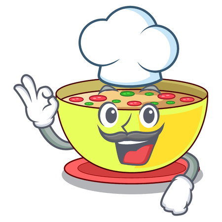 Chef corn chowder isolated with the character vector illustration