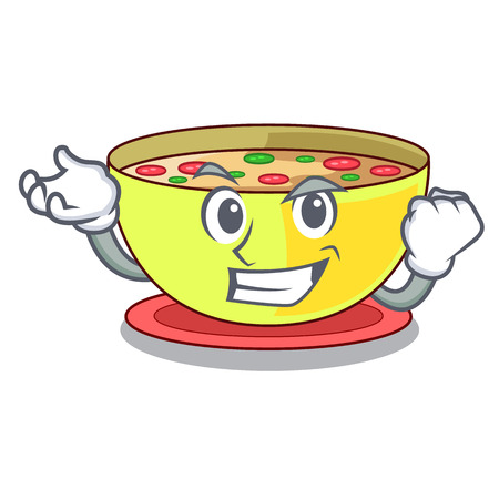 Successful corn chowder isolated with the character vector illustration