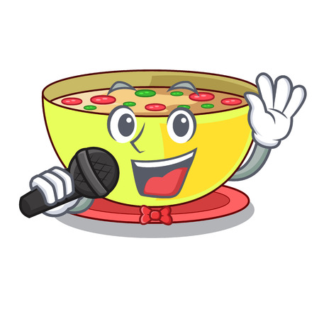 Singing corn chowder in the mascot shape vector illustration