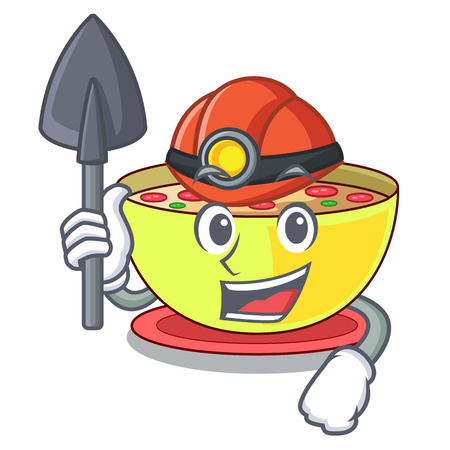 Miner corn chowder in the mascot shape vector illustration