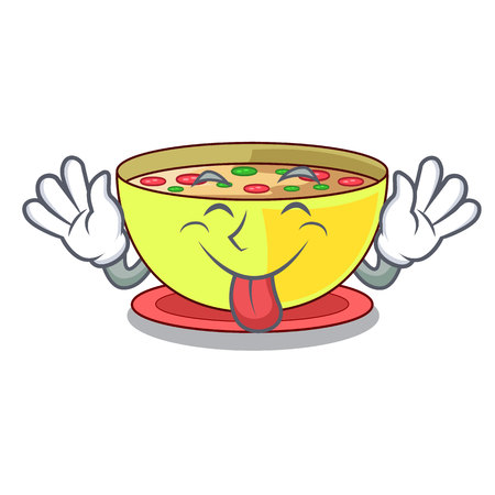Tongue out corn chowder in a cartoon plate vector illustration