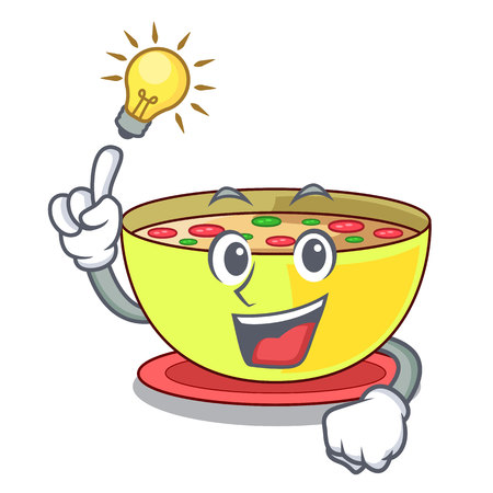 Have an idea corn chowder in a cartoon plate vector illustration