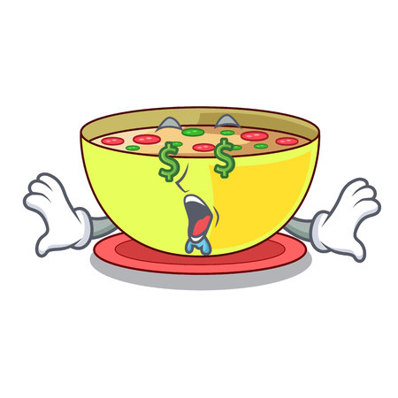 Money eye corn chowder in a cartoon plate vector illustration
