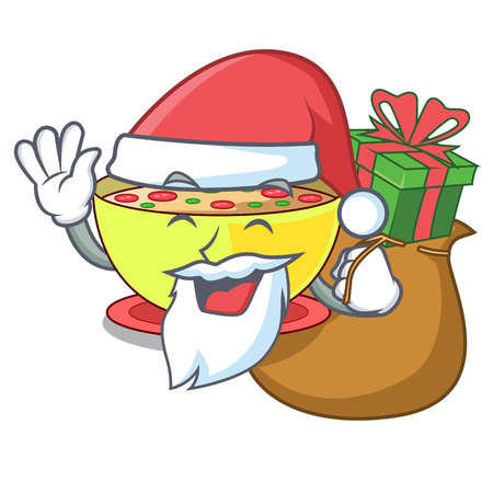 Santa with gift corn chowder in a cartoon plate vector illustration Ilustração