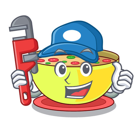 Plumber corn chowder in a cartoon plate vector illustration