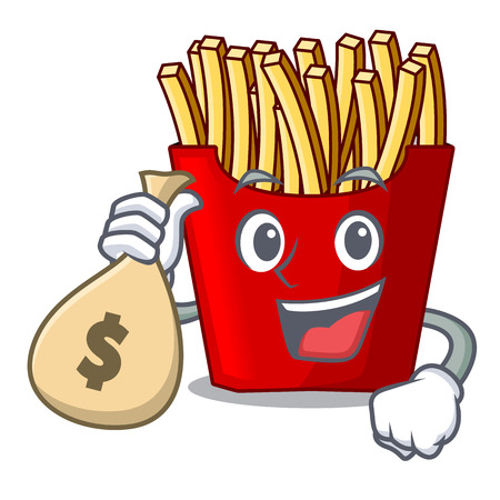 With money bag french fries above cartoon table wood vector illustration Illustration