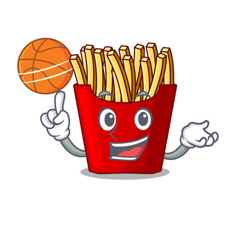 With basketball french fries above cartoon table wood vector illustration Illustration