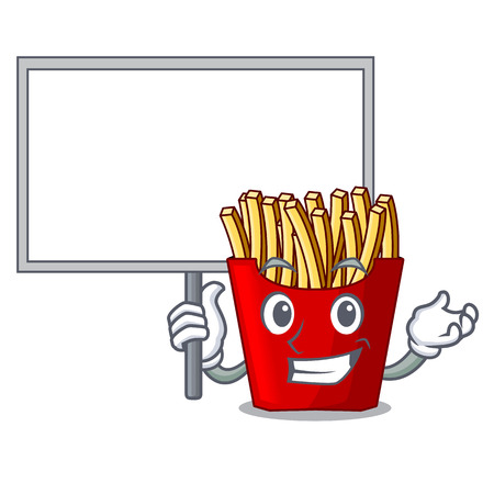 Bring board french fries above cartoon table wood vector illustration