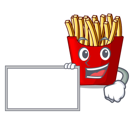 With board french fries above cartoon table wood vector illustration