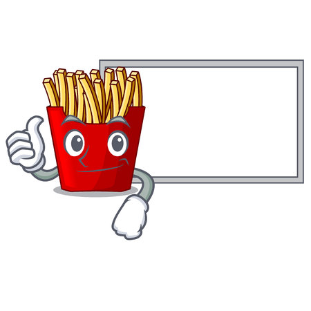Thumbs up with board french fries above cartoon table wood vector illustration