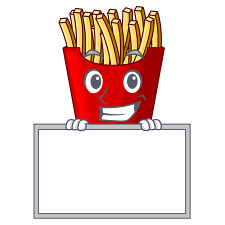 Grinning with board french fries above cartoon table wood vector illustration