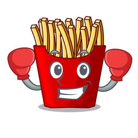 Boxing french fries above cartoon table wood vector illustration