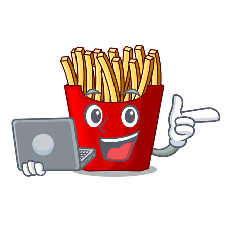 With laptop french fries above cartoon table wood vector illustration Illustration