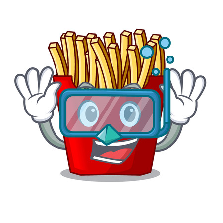 Diving french fries served on character plates vector illustration