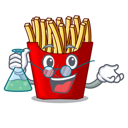 Professor french fries served on character plates vector illustration
