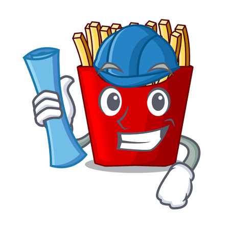 Architect french fries served on character plates vector illustration