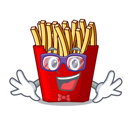 Geek french fries served on character plates vector illustration