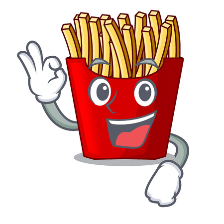Okay french fries served on character plates vector illustration