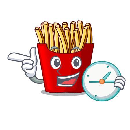 With clock french fries served on character plates vector illustration