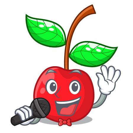 Singing cherry fruit in a cartoon bowl vector illustration