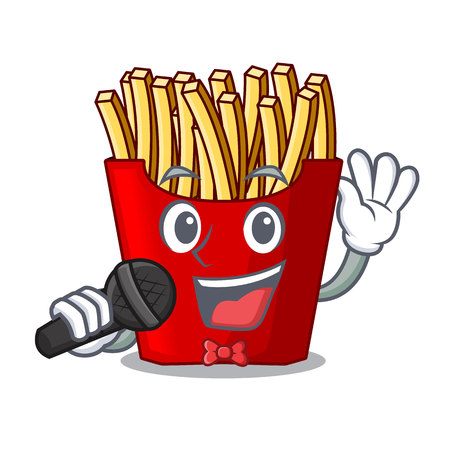 Singing french fries wrapped in cartoon shapes vector illustration