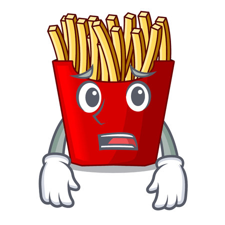 Afraid french fries wrapped in cartoon shapes vector illustration