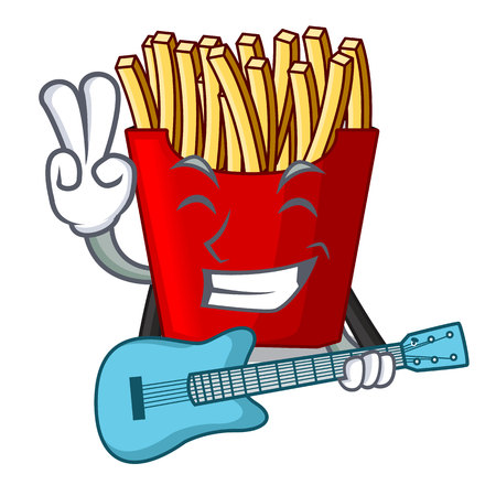 With guitar french fries wrapped in cartoon shapes vector illustration Ilustração